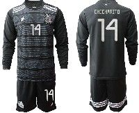 Mens 19-20 Soccer Mexico National Team #14 Chicharito Black Home Long Sleeve Suit Jersey