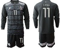 Mens 19-20 Soccer Mexico National Team #11 C.vela Black Home Long Sleeve Suit Jersey