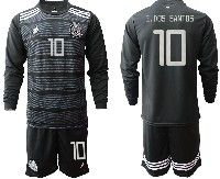 Mens 19-20 Soccer Mexico National Team #10 G.dos Santos Black Home Long Sleeve Suit Jersey