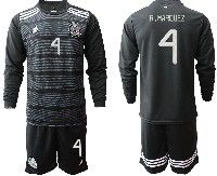 Mens 19-20 Soccer Mexico National Team #4 R.marquez Black Home Long Sleeve Suit Jersey