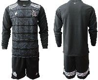Mens 19-20 Soccer Mexico National Team Blank Black Home Long Sleeve Suit Jersey