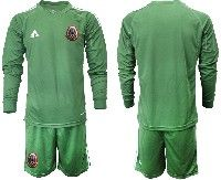 Mens 19-20 Soccer Mexico National Team Custom Made Green Goalkeeper Long Sleeve Suit Jersey