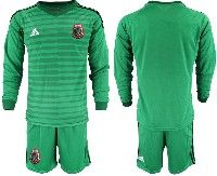 Mens 19-20 Soccer Mexico National Team Custom Made Stripe Green Goalkeeper Long Sleeve Suit Jersey