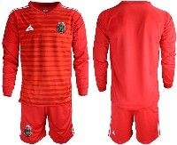 Mens 19-20 Soccer Mexico National Team Custom Made Red Goalkeeper Long Sleeve Suit Jersey