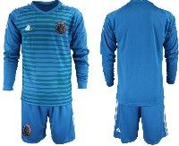 Mens 19-20 Soccer Mexico National Team Custom Made Blue Goalkeeper Long Sleeve Suit Jersey