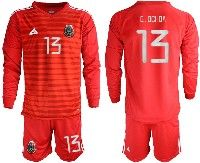 Mens 19-20 Soccer Mexico National Team #13 Guillermo Ochoa Red Goalkeeper Long Sleeve Suit Jersey