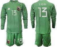 Mens 19-20 Soccer Mexico National Team #13 Guillermo Ochoa Green Goalkeeper Long Sleeve Suit Jersey