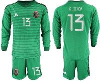 Mens 19-20 Soccer Mexico National Team #13 Guillermo Ochoa Stripe Green Goalkeeper Long Sleeve Suit Jersey