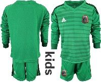 Youth Soccer 19-20 Mexico National Team Custom Made Stripe Green Goalkeeper Long Sleeve Suit Jersey