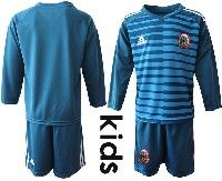 Youth Soccer 19-20 Mexico National Team Custom Made Blue Goalkeeper Long Sleeve Suit Jersey