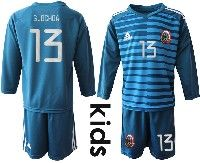 Youth Soccer 19-20 Mexico National Team #13 Guillermo Ochoa Blue Goalkeeper Long Sleeve Suit Jersey