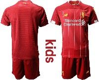 Youth 19-20 Soccer Liverpool Club Blank Red Home Short Sleeve Suit Jersey