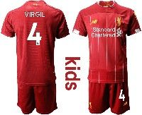 Youth 19-20 Soccer Liverpool Club #4 Virgil Red Home Short Sleeve Suit Jersey