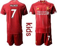 Youth 19-20 Soccer Liverpool Club #7 Milner Red Home Short Sleeve Suit Jersey