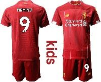 Youth 19-20 Soccer Liverpool Club #9 Firmino Red Home Short Sleeve Suit Jersey