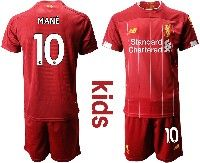 Youth 19-20 Soccer Liverpool Club #10 Mane Red Home Short Sleeve Suit Jersey