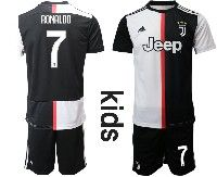 Youth 19-20 Soccer Juventus Club #7 Cristiano Ronaldo White Home Short Sleeve Suit Jersey