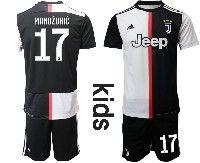 Youth 19-20 Soccer Juventus Club #17 Mandzukic White Home Short Sleeve Suit Jersey