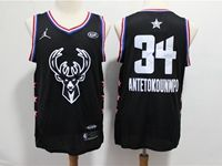 Mens 2019 Nba Milwaukee Bucks #34 Giannis Antetokounmpo Black All Star Jersey