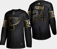Mens Adidas Nhl St.louis Blues #24 Federko 2019 Champion Black Gold Jersey