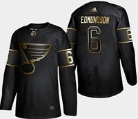Mens Adidas Nhl St.louis Blues #6 Joel Edmundson 2019 Champion Black Gold Jersey