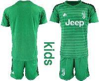 Youth 19-20 Soccer Juventus Club Custom Made Green Goalkeeper Short Sleeve Suit Jersey