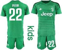 Youth 19-20 Soccer Juventus Club #22 Perin Green Goalkeeper Short Sleeve Suit Jersey
