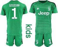 Youth 19-20 Soccer Juventus Club #1 Szczesny Green Goalkeeper Short Sleeve Suit Jersey