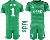 Youth 19-20 Soccer Juventus Club #1 Gianluigi Buffon Green Goalkeeper Short Sleeve Suit Jersey