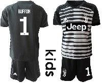 Youth 19-20 Soccer Juventus Club #1 Gianluigi Buffon Black Goalkeeper Short Sleeve Suit Jersey