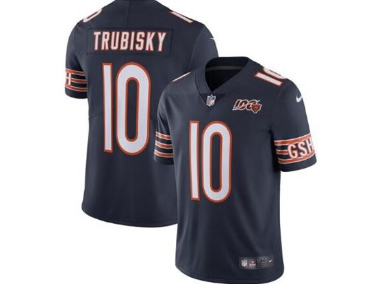 Mens Nfl Chicago Bears #10 Mitchell Trubisky Navy Blue 100th Season Retired Nike Vapor Untouchable Limited Jersey