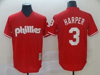 Mens Mlb Philadephia Phillies #3 Bryce Harper Red Throwbacks Cool Base Jersey