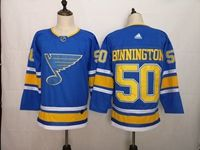 Mens Nhl St.louis Blues #50 Jordan Binnington Light Blue Adidas Jersey
