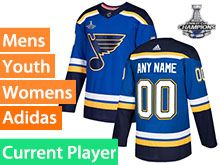 Mens Women Youth Adidas St.louis Blues Current Player 2019 Stanley Cup Champions Patch Blue Home Jersey