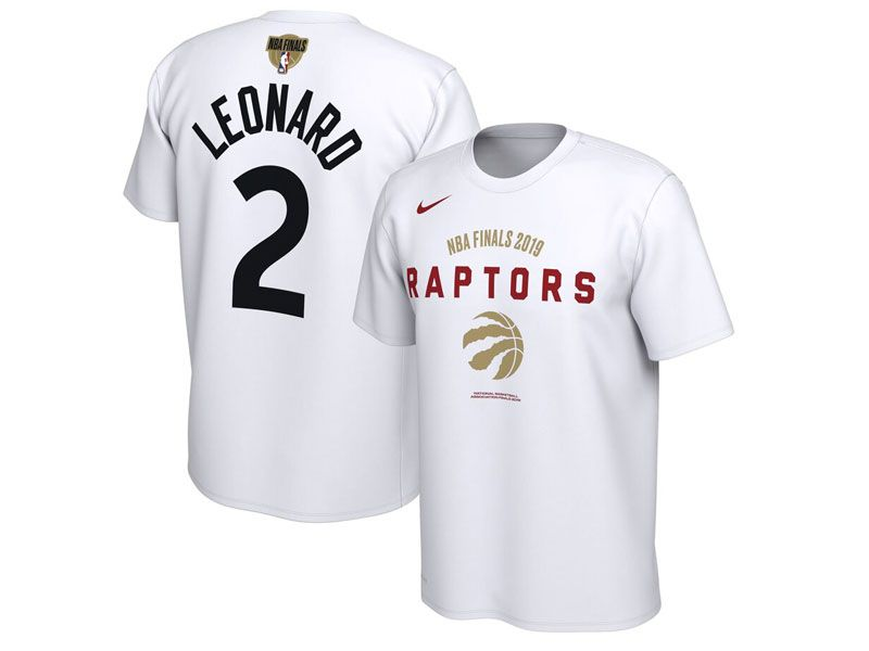 Mens Nba Toronto Raptors Nike White #2 Kawhi Leonard 2019 Nba Finals T-shirt