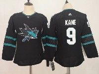 Women Youth Adidas Nhl San Jose Sharks #9 Evander Kane Blank Alternate Black Jersey
