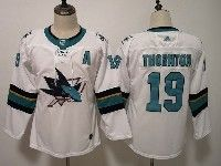 Women Youth Adidas Nhl San Jose Sharks #19 Joe Thornton White Away Jersey