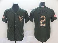 Mens New York Yankees #2 Derek Jeter Green Camo Number Cool Base Jersey