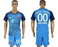 Mens 19-20 Soccer Bayern Munchen ( Custom Made ) Lake Blue Goalkeeper Short Sleeve Suit Jersey