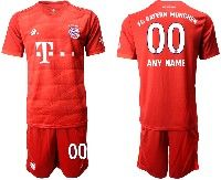 Mens 19-20 Soccer Bayern Munchen ( Custom Made ) Red Home Short Sleeve Suit Jersey
