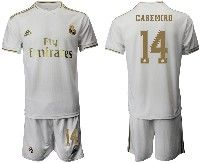 Mens 19-20 Soccer Real Madrid Club #14 Casemiro White Home Short Sleeve Suit Jersey