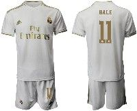 Mens 19-20 Soccer Real Madrid Club #11 Bale White Home Short Sleeve Suit Jersey