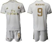 Mens 19-20 Soccer Real Madrid Club #9 Benzema White Home Short Sleeve Suit Jersey