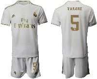 Mens 19-20 Soccer Real Madrid Club #5 Varane White Home Short Sleeve Suit Jersey