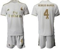 Mens 19-20 Soccer Real Madrid Club #4 Sergio Ramos White Home Short Sleeve Suit Jersey