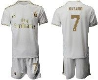 Mens 19-20 Soccer Real Madrid Club #7 Hazard White Home Short Sleeve Suit Jersey