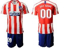 Mens 19-20 Soccer Atletico De Madrid Club ( Custom Made ) Red And White Stripe Home Short Sleeve Suit Jersey