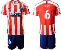 Mens 19-20 Soccer Atletico De Madrid Club #6 Koke Red And White Stripe Home Short Sleeve Suit Jersey