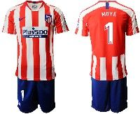 Mens 19-20 Soccer Atletico De Madrid Club #1 Moya Red And White Stripe Home Short Sleeve Suit Jersey