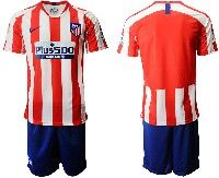 Mens 19-20 Soccer Atletico De Madrid Club( Blank )red And White Stripe Home Short Sleeve Suit Jersey